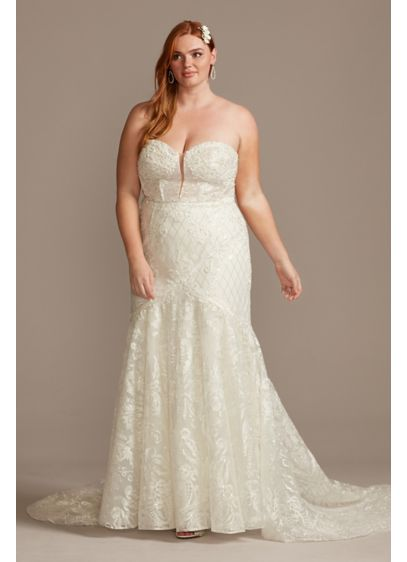Beaded Brocade Embellished Plus Size Wedding Dress - The picture of sultry romance, this alluring wedding