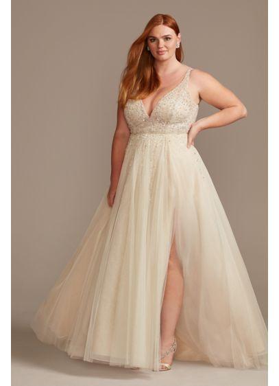 Beaded Plunging-V Illusion Plus Size Wedding Dress | David\'s Bridal