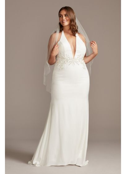 Embellished Waist Plus Size Halter Wedding Dress - chic, feminine vibe. Crystal and bead embellished vines