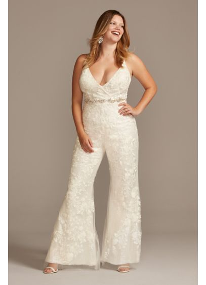 Floral Overlay Plus Size Flare Wedding Jumpsuit - The party will start as soon as you