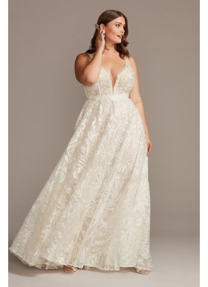 Crystal Bead Double Strap Plus Size Wedding Dress - Featuring a layer of light-catching metallic filigree and