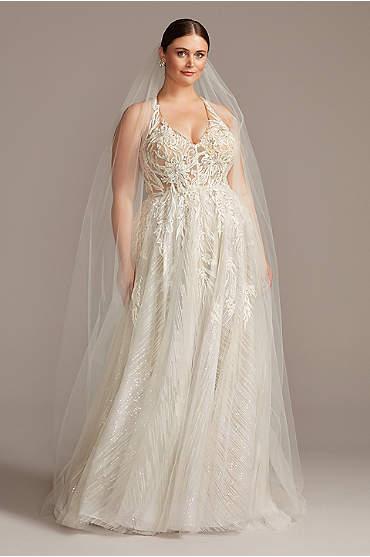 Floral Applique Open Back Plus Size Wedding Dress