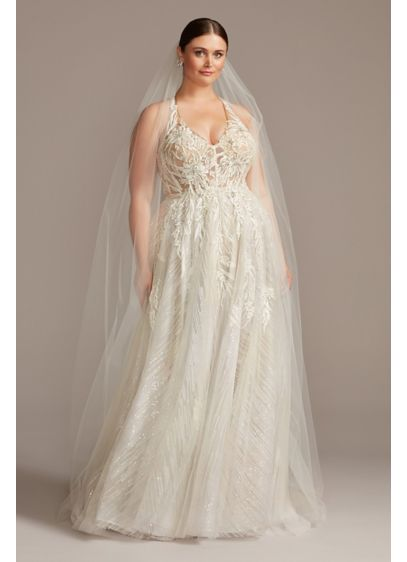 Floral Applique Open Back Plus Size Wedding Dress - Perfect for the bride looking to dazzle, this