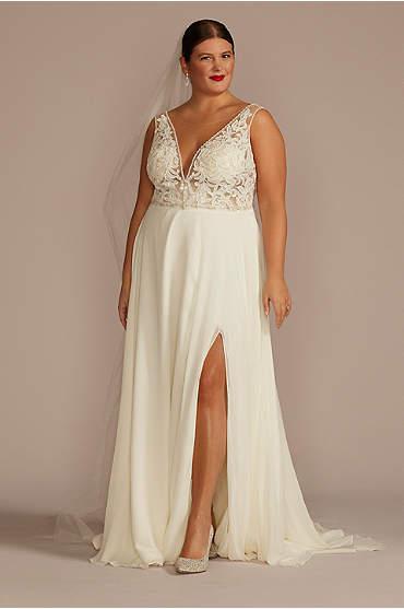 Applique Illusion Chiffon Plus Size Wedding Dress