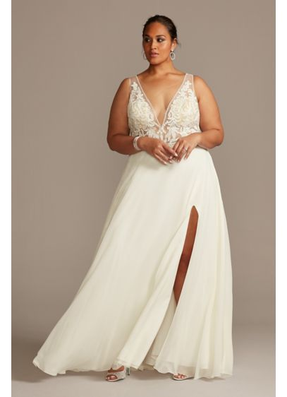 Applique Illusion Chiffon Plus Size Wedding Dress - Lace embellishments and barely there mesh panels create