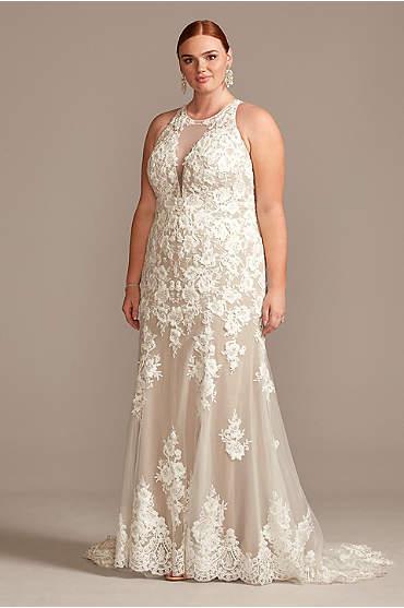 Illusion Keyhole Applique Plus Size Wedding Dress