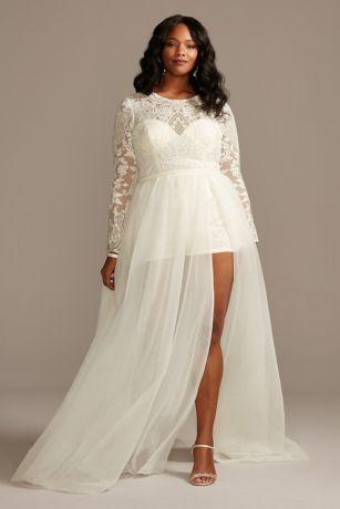 Brocade Plus Size Wedding Romper With Overskirt David S Bridal