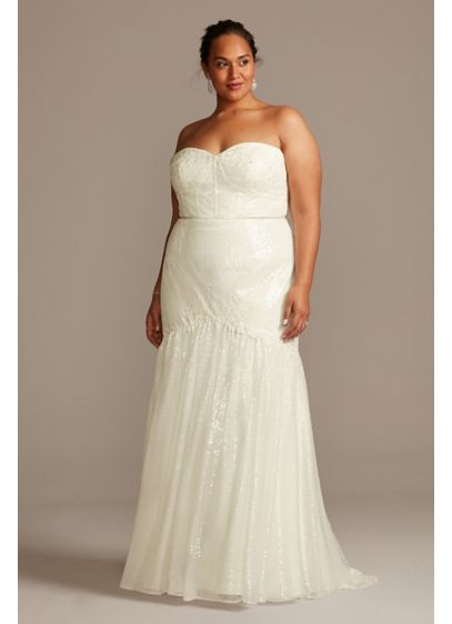 Allover Sequin Corset Plus Size Wedding Dress - This allover sequin trumpet wedding dress is worth