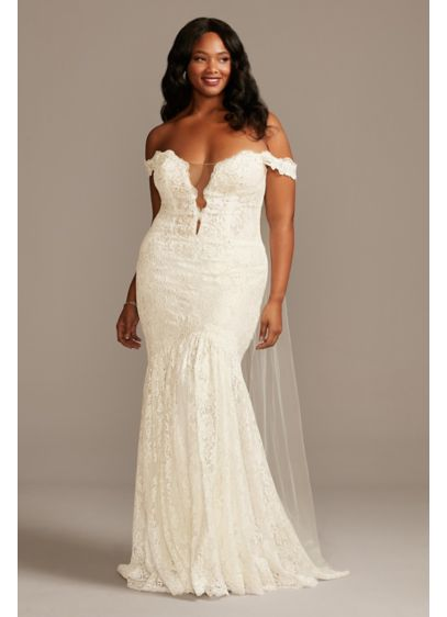 Off Shoulder Plunging Plus Size Lace Wedding Dress - A beautiful look for the bold bride, this