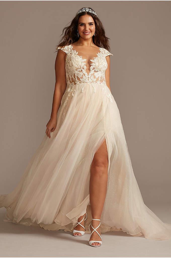 Cap Sleeve Lace Appliqued Plus Size Wedding Dress