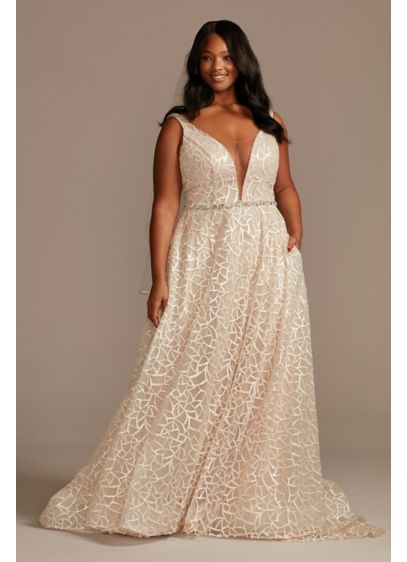Geometric Sequin Plunge Plus Size Wedding Dress - This plunging A-line wedding dress gleams from every
