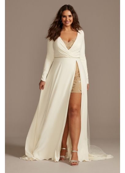 Two Piece Plus Size Wedding Over Dress Romper - Runway-ready and fashion-forward, this two-piece set is ideal