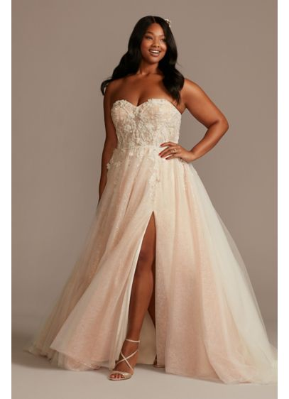 Floral Plus Size Wedding Dress with Metallic Tulle - Airy and elegant, this wedding dress is crafted