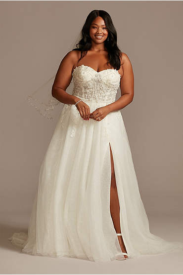 Floral Plus Size Wedding Dress with Metallic Tulle
