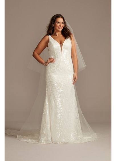Beaded Illusion Plunge Plus Size Wedding Dress - This shimmering wedding dress gets its unique, multi-dimensional
