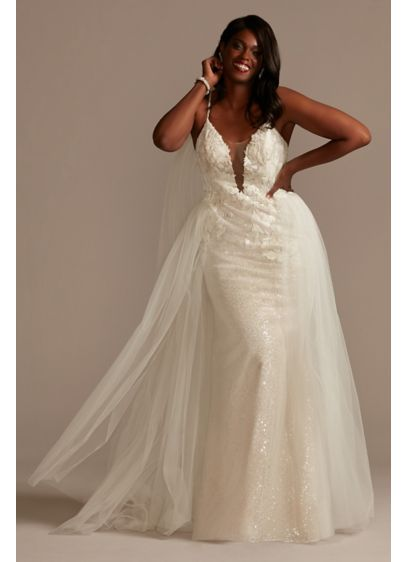 Sequin Removable Train Plus Size Wedding Dress - Covered with lustrous sequins and embellished with a