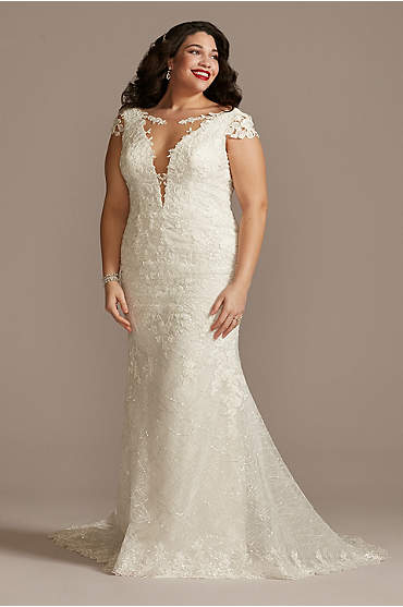 Sheath Plus Wedding Dress with Beaded Swag Back