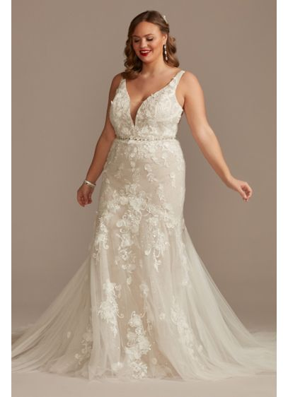 Beaded Lace 3D Floral Plus Tulle Wedding Dress - This mermaid wedding dress is crafted of a