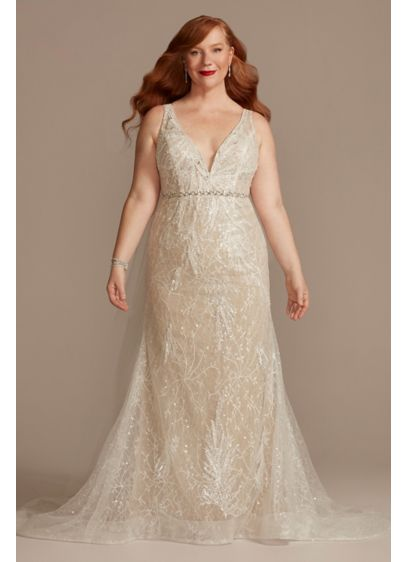Beaded Lace Low Back PlusWedding Dress - Covered with 7,000 beads, this sequin and lace