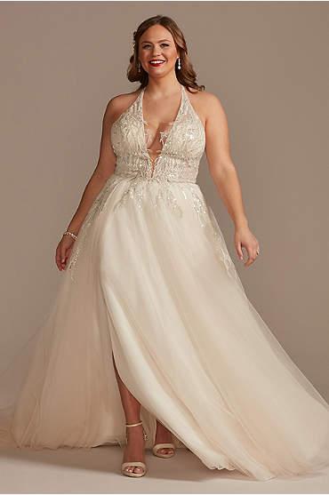 Beaded Applique Plunge Plus Size Wedding Dress