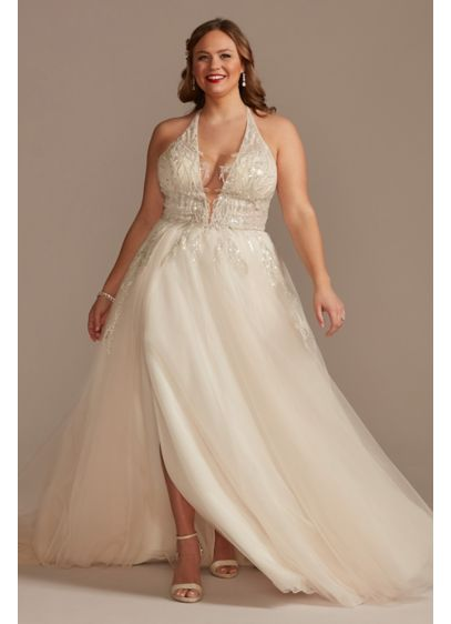 Beaded Applique Plunge Plus Size Wedding Dress - Crafted of crinkle glitter organza and tulle, this
