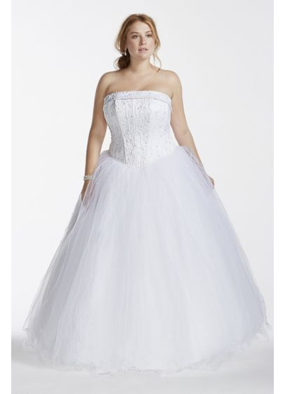 Tulle Plus Size Wedding Dress with Beaded Satin | David\'s Bridal