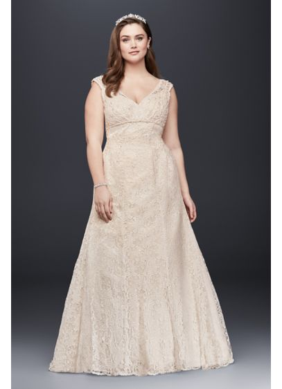 Beaded Cap Sleeve Lace Plus Size Wedding Dress