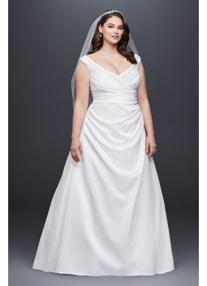 Off-the-Shoulder V-Neck Plus Size Wedding Dress | David\'s Bridal