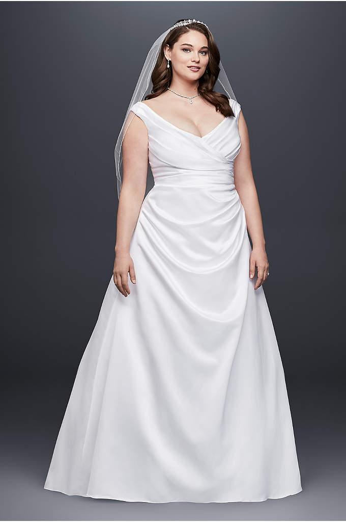 Off-the-Shoulder V-Neck Plus Size Wedding Dress - Side-draped bodice and off-the-shoulder neckline create a long,