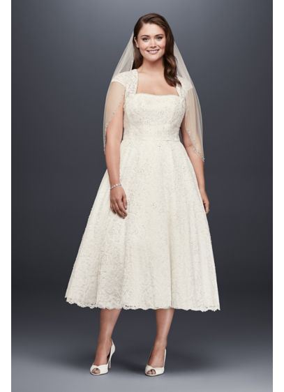 91921aa6da5 Tea-Length Plus Size Wedding Dress with Shrug. 9T9948. Short A-Line Country  Wedding Dress - David s Bridal Collection