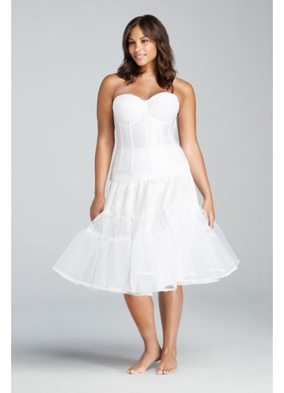 David's Bridal White (Tea Length Plus Size Slip)