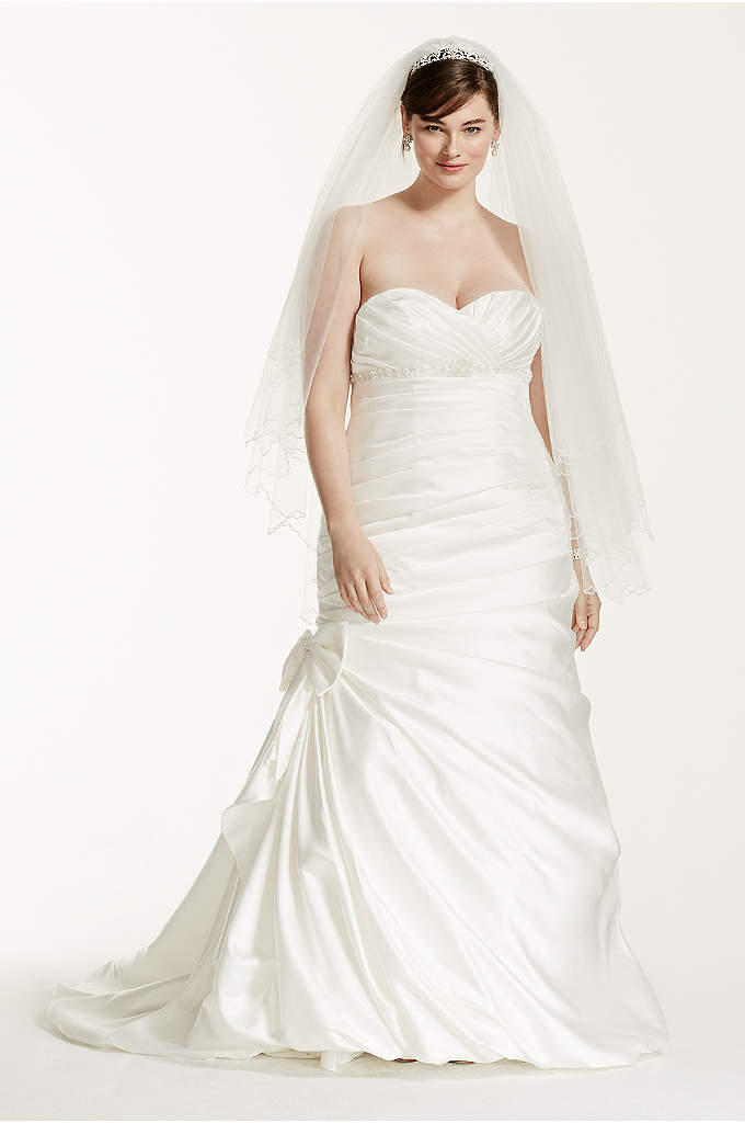 Satin Mermaid Plus Size Wedding Dress With Bow