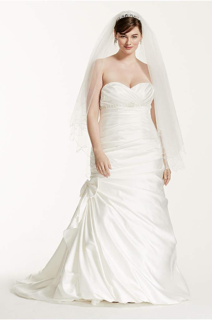 Satin Mermaid Plus Size Wedding Dress with Bow