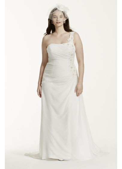 One Shoulder Chiffon Plus Size Wedding Dress 9v3398 Long A Line Beach David S Bridal Collection