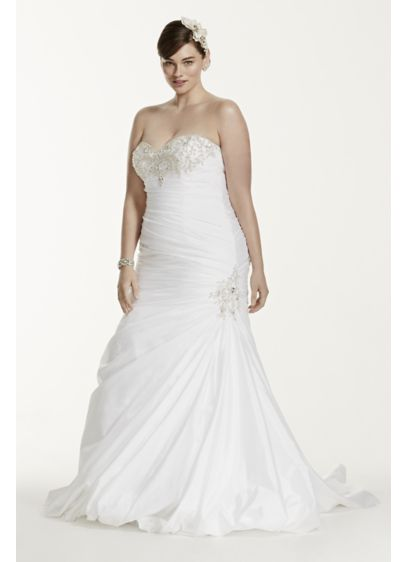 Taffeta Trumpet Plus Size Wedding Dress with Beads