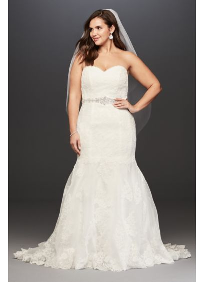 Lace Plus Size Wedding Dress with Scalloped Hem - With a feminine sweetheart neckline and a beaded