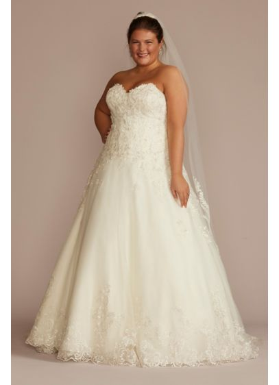 Beaded Lace and Tulle Plus Size Wedding Dress - This romantic ball gown features beaded lace appliques