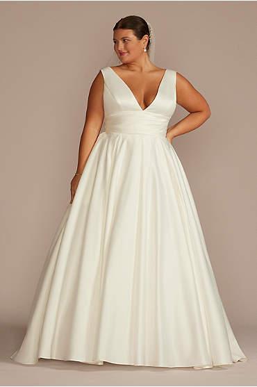Satin Cummerbund Plus Size Wedding Dress
