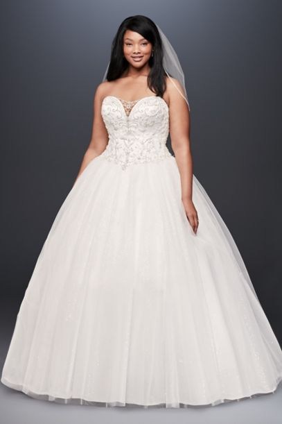 Beaded Illusion Plus Size Ball Gown Wedding Dress Davids Bridal