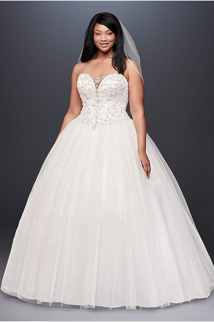 Beaded Illusion Plus Size Ball Gown Wedding Dress