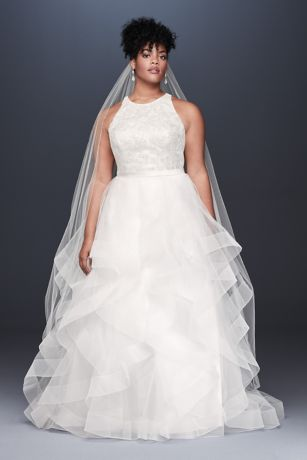 Floral Sequin Tiered Plus Size Wedding Dress - This high-neck ball gown features a floral sequin