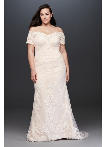 Off the Shoulder Lace Plus Size Wedding Dress - Stand boldly and beautifully in this plus-size, off-the-shoulder