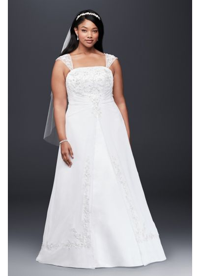 A-Line Plus Size Wedding Dress with Cap Sleeves - Designed with elegance in mind, this satin A-line