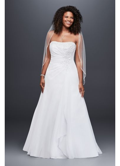 Chiffon Side Drape A-line Plus Size Wedding Dress - Chiffon A-line gown with side draped bodice, beaded