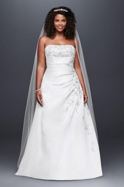 aline plus size wedding dress with lace up back davids