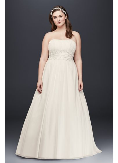 7cc703e0864 Chiffon Empire Waist Plus Size Wedding Dress. 9V9743. Long A-Line Beach Wedding  Dress - David s Bridal Collection