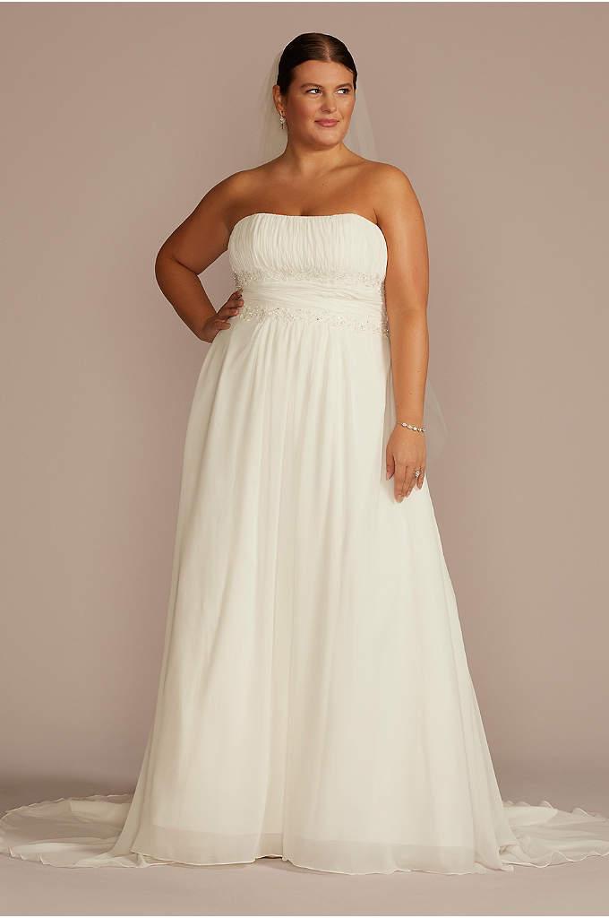 Chiffon Empire Waist Plus Size Wedding Dress - This plus size empire-waist strapless wedding gown is