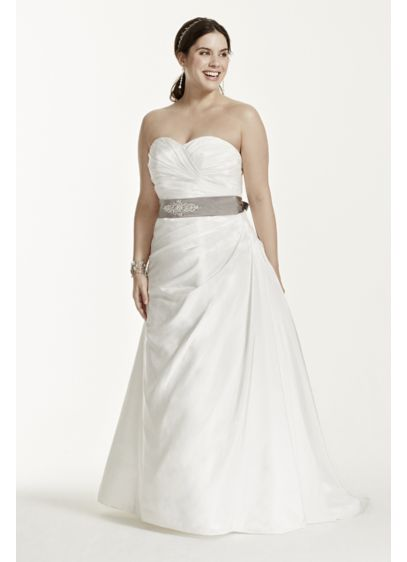 d715fb0eef98f Taffeta Ruched A-Line Plus Size Wedding Dress. David's Bridal Collection