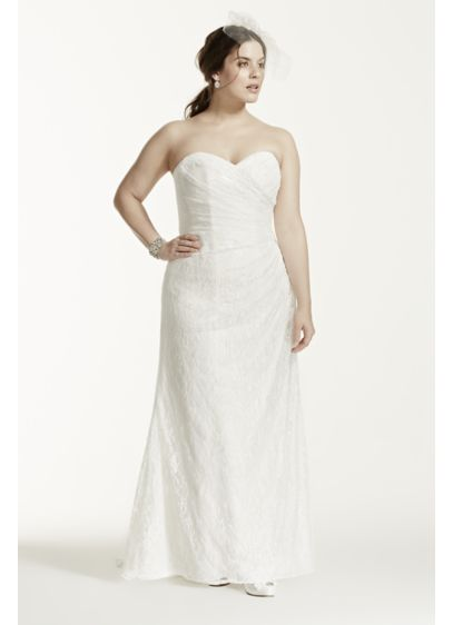 Strapless Lace Over Satin Plus Size Wedding Dress