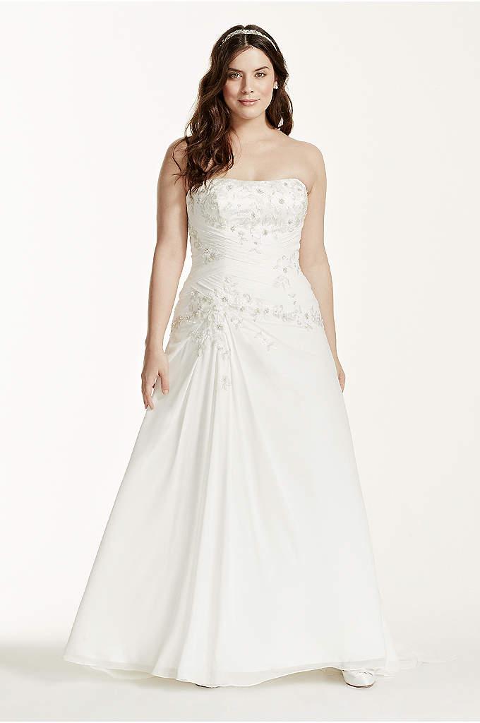 Chiffon Over Satin A-Line Plus Size Wedding Dress - This chiffon over satin wedding dress showcases its